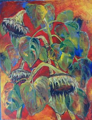 Sonnenblumen Bild in Acryl Krea Kurse Malschule Allschwil Rice Wunderli  ZeichenschuleZeichenschule, Zeichenunterricht, Zeichenkurse, Allschwil, Basel-Land, Zeichnen lernen, Malen lernen