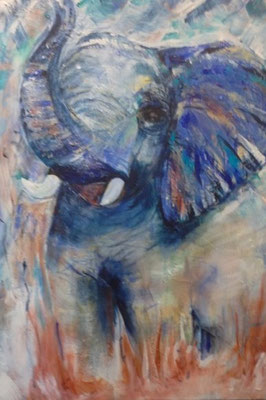 Elefant, Bild in Acryl Krea Kurse Malschule Allschwil Rice Wunderli ZeichenschuleZeichenschule, Zeichenunterricht, Zeichenkurse, Allschwil, Basel-Land, Zeichnen lernen, Malen lernen