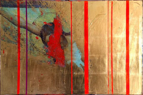 "Where You Are, 2016, Digitaldruck, Acryl, Schlagmetall ""Gold"", Oxidationsmittel auf Leinwand, 80x120 cm"