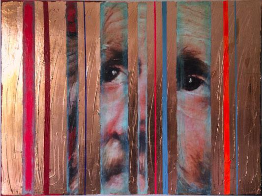 Up And Running, 2016, Digitaldruck, Acryl, Kupfer, Oxidationsmittel auf Leinwand, 75x100 cm