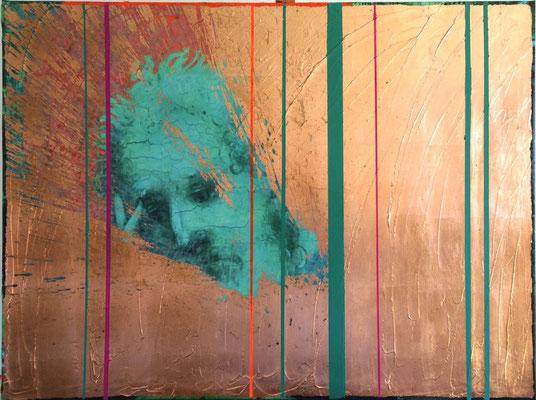 Life is for Living, 2016, Digitaldruck, Acryl, Kupfer, Oxidationsmittel auf Leinwand, 100x75 cm
