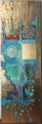 """Ready to Flow"", 2013, Acryl, Schlagmetall ""Gold"", Oxidationsmittel auf Leinwand, 120 x 40 cm"