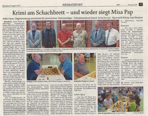 und der Artikel in der Presse. Michael konnte mit 3,5 Punkten den 37. Platz erreichen. Günter erreichte mit 2 Punkten den 45. Platz.