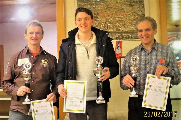 Hier die Sieger:  2. Platz Peter Diller (Rothenburg), 1. Platz Florian Ries (Dinkelsbühl), 3. Platz Wolfgang Engelmann (Rothenburg)