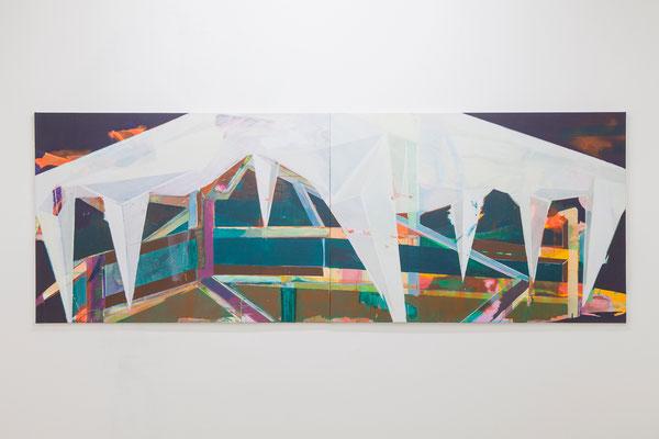 """Silke Bartsch, """"Zelt_8"""", 2014, 100 x 280 cm, Acryl und Öl auf Leinwand"""