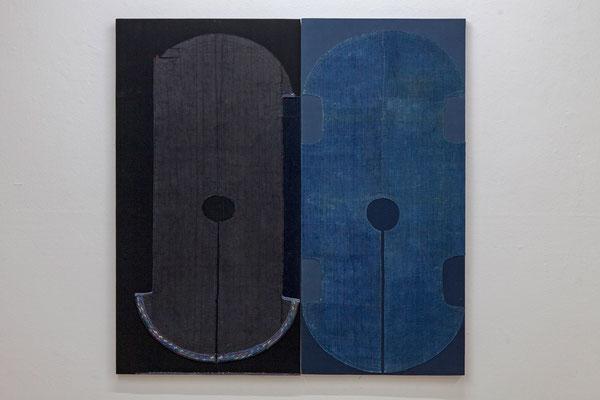 """Uli Fischer,  """"inoutside"""", 2017,  Fragmente eines historischen Kleidungsstückes der Miao genäht auf Polyester und Baumwolle auf Acoustic Shape, 117cm x 115cm  (2-teilig)"""