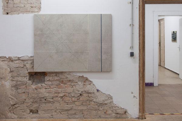 Uli Fischer,  BEGEGNUNG (meeting of minds), 2012 historisches Leinen und Baumwolle,  genäht auf Leinen und Baumwolle auf Acoustic Shape, 100 cm x 130 cm