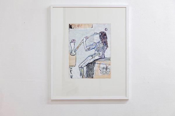 """Frank Diersch, """"Dinner of Love"""" 2016, Tusche, Farbstifte auf Deckweiß auf historischem Papier, 35,8 x 27,8 cm"""