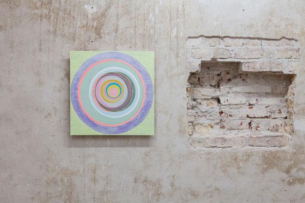 """Bettina Weiß, """"Eclipse #4"""", 50 x 50 cm ,Öl und Acryl auf auf Holz, 2019"""