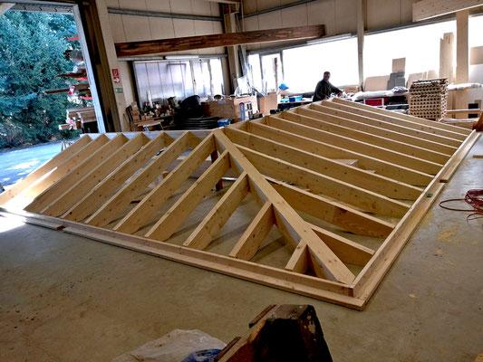 Vorrichten des Dachstuhlkonstruktion