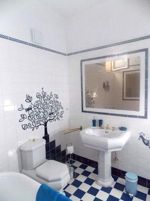 salle de bain rétro du gîte de Morville