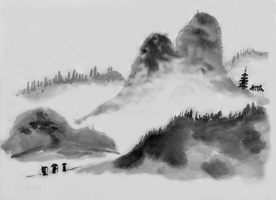 Sumie Landschaft