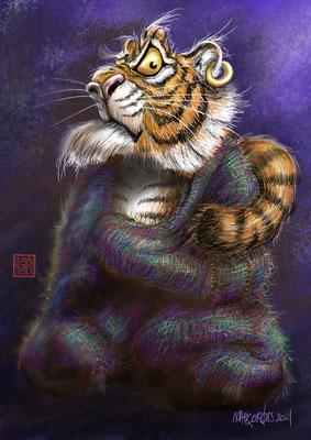 Daruma (Gründer des Zen-Buddhismus) als Tiger