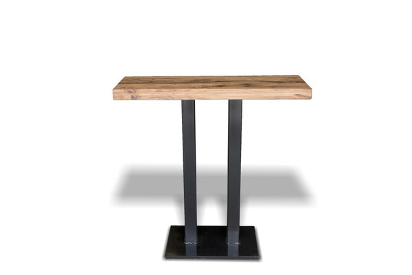 Doppelsäulen Stehtisch, Hochtisch und Küchentisch mit rustikaler Tischplatte Eiche
