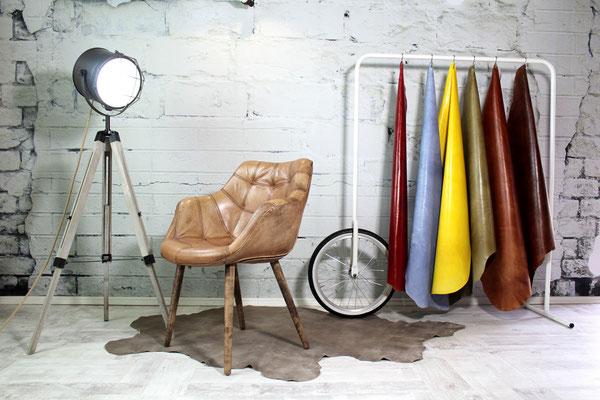 Esszimmerstühle und Polsterstühle aus echtem Leder gefertigt in Handarbeit