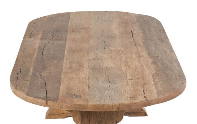 Tischplatte oval rustikal Alteiche