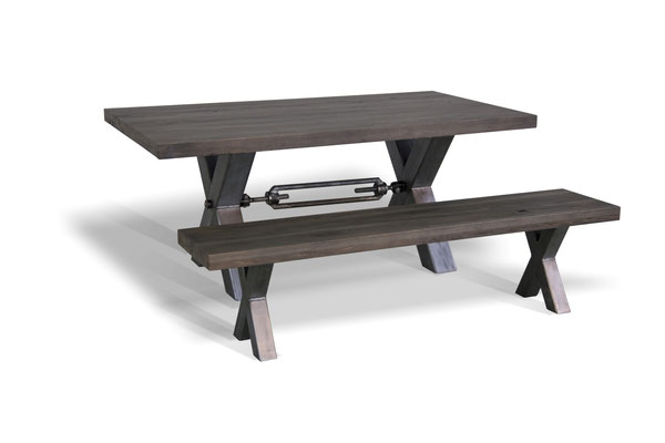 Esstisch Industrial mit Holzbank Kreuzgestell