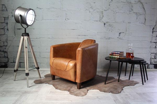 Ledersessel aus Büffelleder Clubsessel Echtleder Italienisches Design