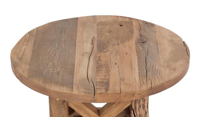 Detailbild runde Tischplatte massiv Eiche Altholz 6cm nach Maß
