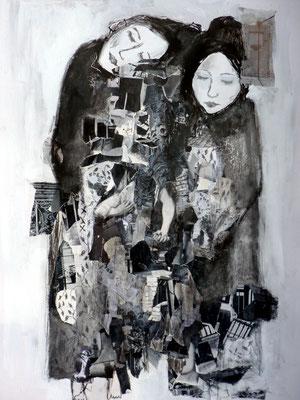 unsere Geschichte                                     Pappe/Collage                               63 cm x 88 cm