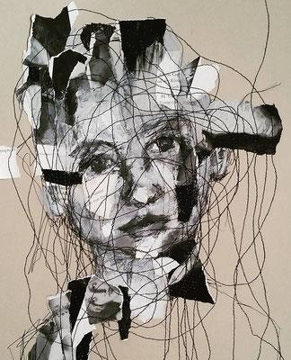 lines in her head /Nähcollage auf Papier Din 3 /    270,-Euro
