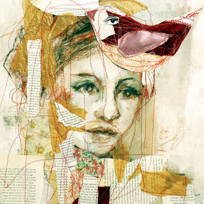 red Bird                                 auf Papier genäht und gemalt                             40 cm x 40 cm