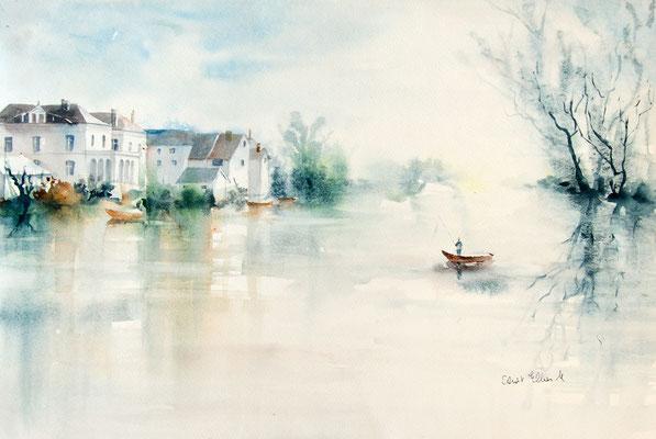 Aquarelle de rivière à Saumur