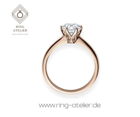 Ring aus Rotgold mit echtem Stein