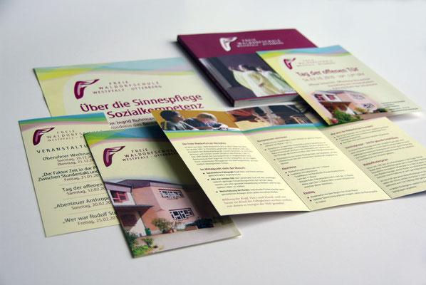 Verschiedene Info-broschüren für die Waldorfschule Westpfalz