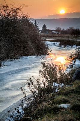 Rivière gelée entre Epinouze et St Rambert d'Albon