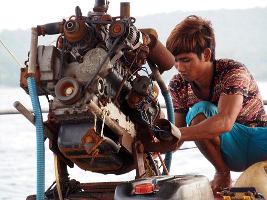 Typischer Motor in südostasiatischen Gewässern