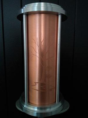 """Grande Astral arbre,  6"""" diamètre x 10"""" 1/2 """" haut, cuivre aluminium, 200 pouces cube, $500.00 taxes payées"""