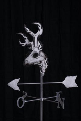 """Girouette chevreuil, Aluminium acrylique, 35"""" haut x 24"""" x 24"""", 2017.  $300.00"""