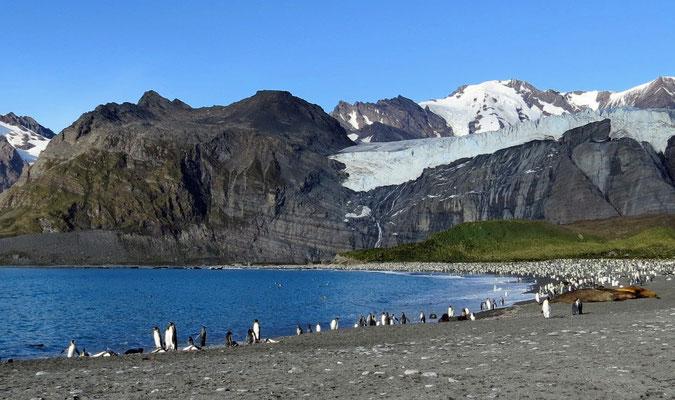 im Hintergrund der Bertrab Gletscher