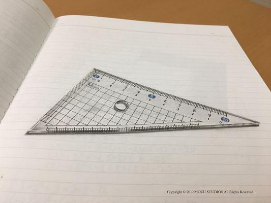 三角定規のトリックアート