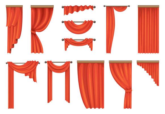 saarclean Gardinenservice, Pictogramm mit roten Gardinen