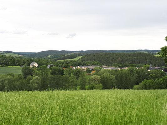 Blick auf Kloschwitz vom Wartberg