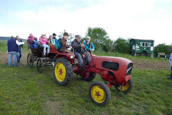 Großen Spaß hatten die Kinder beim Kräuter sammeln aber auch auf der Kutsche von Manfred Hentrich / Eichigt.