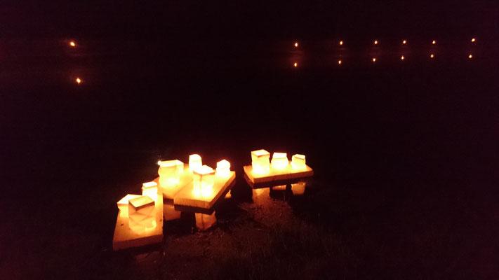 Lichter auf dem Dorfteich
