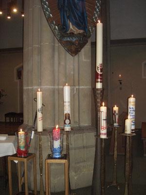Pfarreigründung am 1. Oktober 2006: Jede Gemeinde gestaltete eine Kerze