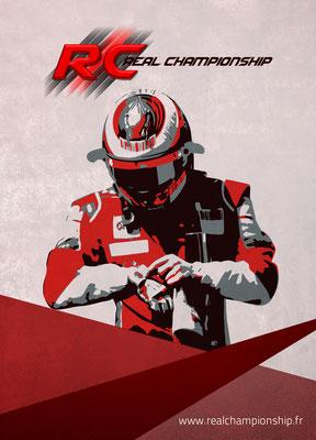 Réalisation d'un flyer (Face avant) pour Real Championship (Communauté e-sport automobile)