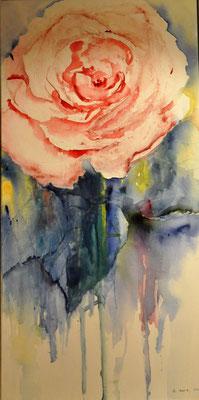 Rosa Rose, 2016, Aquraell auf Leinwand, 50 x 100 cm, Beatrice Ganz