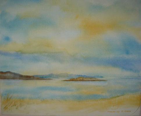 Naxos Nr. 2, 50 x 60 cm, Aquarell auf Leinwand, Beatrice Ganz