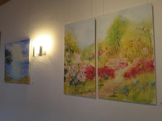 Japanischer Garten und Bucht, Aquarell auf Leinwänden, Beatrice Ganz