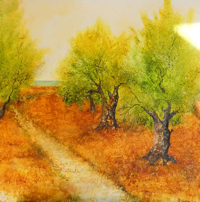 Olivenhain in Israel, Aquarell auf Leinwand, 80x80, Beatrice Ganz, 2018