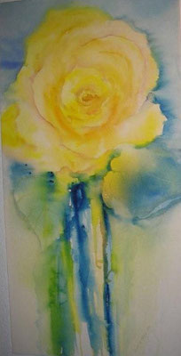 Rose gelb, 2007, Aquraell auf Leinwand, 50 x 100 cm, Beatrice Ganz