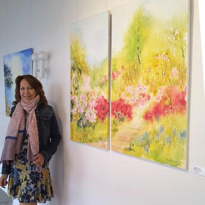 Japanischer Garten und Bucht, Aquarelle auf Leinwänden, Beatrice Ganz