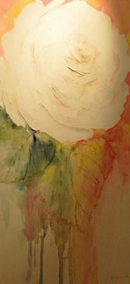 Weisse Rose, 2016, Aquraell auf Leinwand, 50 x 100 cm, Beatrice Ganz