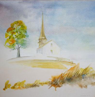 Alte Kirche Witikon, 2017, Aquarell auf Leinwand, 60 x 60 cm, Nr. 5, Beatrice Ganz