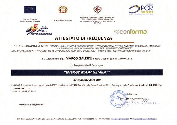 Anno 2015 - Scuola Edile Provinciale di Sassari - Qualifica di Energy Manager, il tecnico specializzato nel contenimento energetico nelle costruzioni civile ed industriali